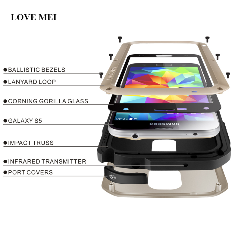 bilder für LIEBE MEI Marke Aluminium Metallgehäuse Für Samsung Galaxy S5 I9600 G900F Leben Wasserdicht Stoßfest Abdeckung Für Galaxy S5 Telefon Shell