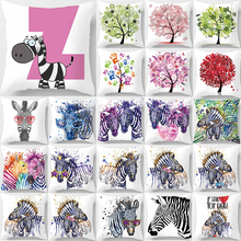 Unicorn beauty zebra trees pattern pillow case water color trees  square pillow cases throw pillow cover 45*45cm