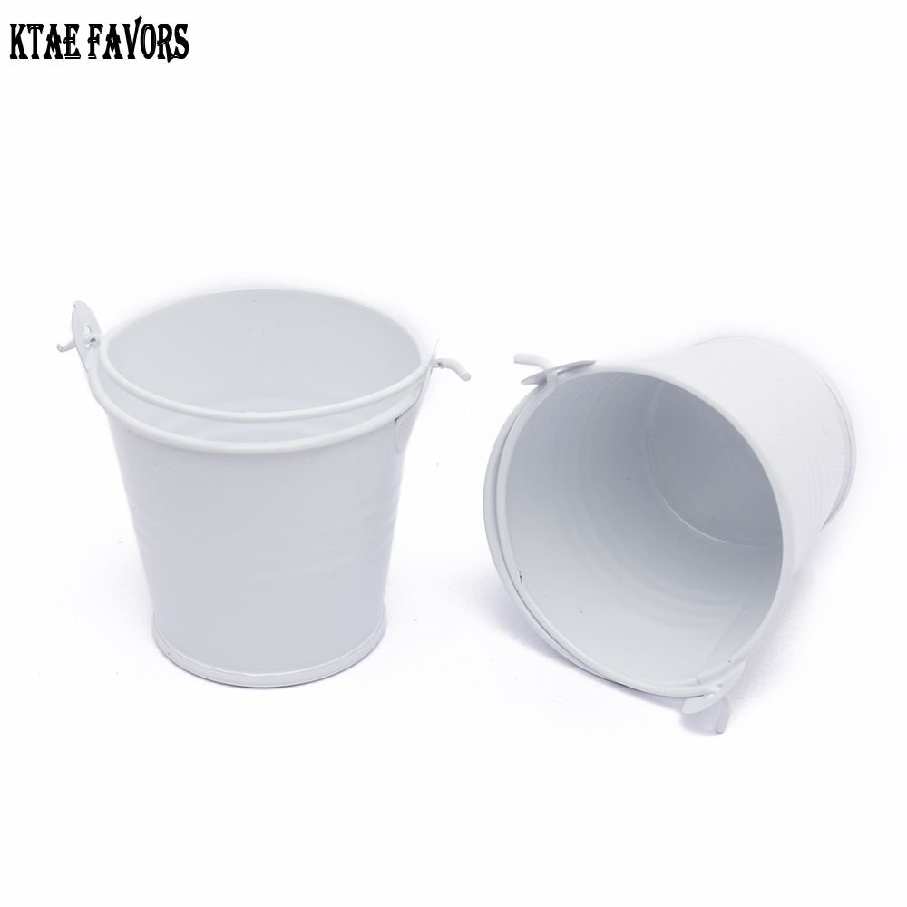 KATE FAVORS 10Pcs Cute Beautiful White Mini Metal Buckets For Wedding Birthday Party Souvenirs Gift Event &Party Supplies
