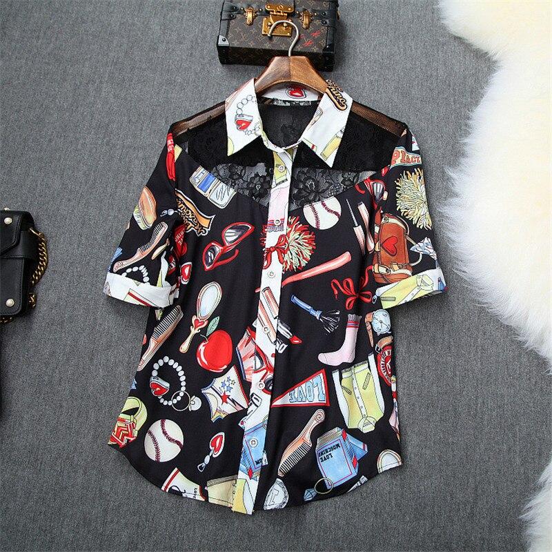 Дизайнерский бренд Runway Женский комплект 2 шт., летний модный топ с короткими рукавами и милым принтом, кружевной лоскутный топ и шорты, комплект в комплекте - 3
