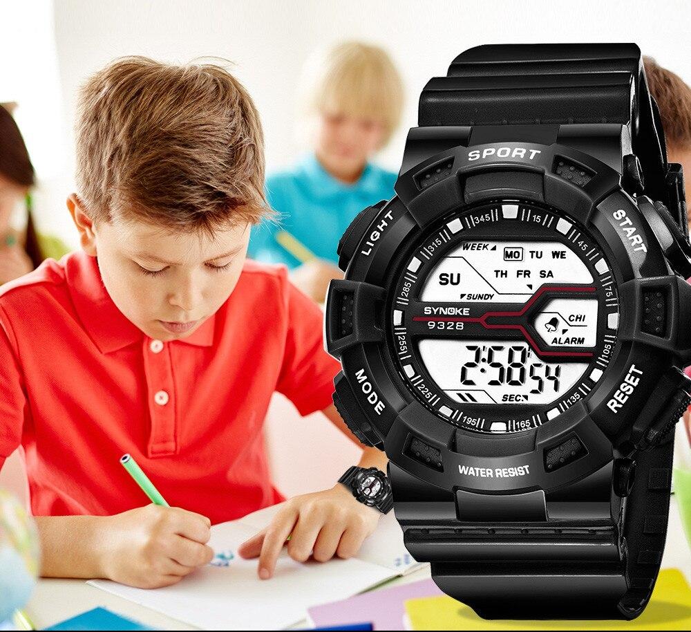 SYNOKE Fashion Casual Brand Children Boys Student Watch Waterproof Sports Watch LED Digital Clock Date Wristwatch Bob Esponja