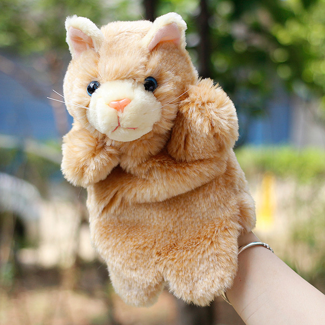 Cute Plush Cartoon hand puppets Racoon Cat / Mouse Hand Puppet Animals Toys for Children Parent-child Educational toys Gifts
