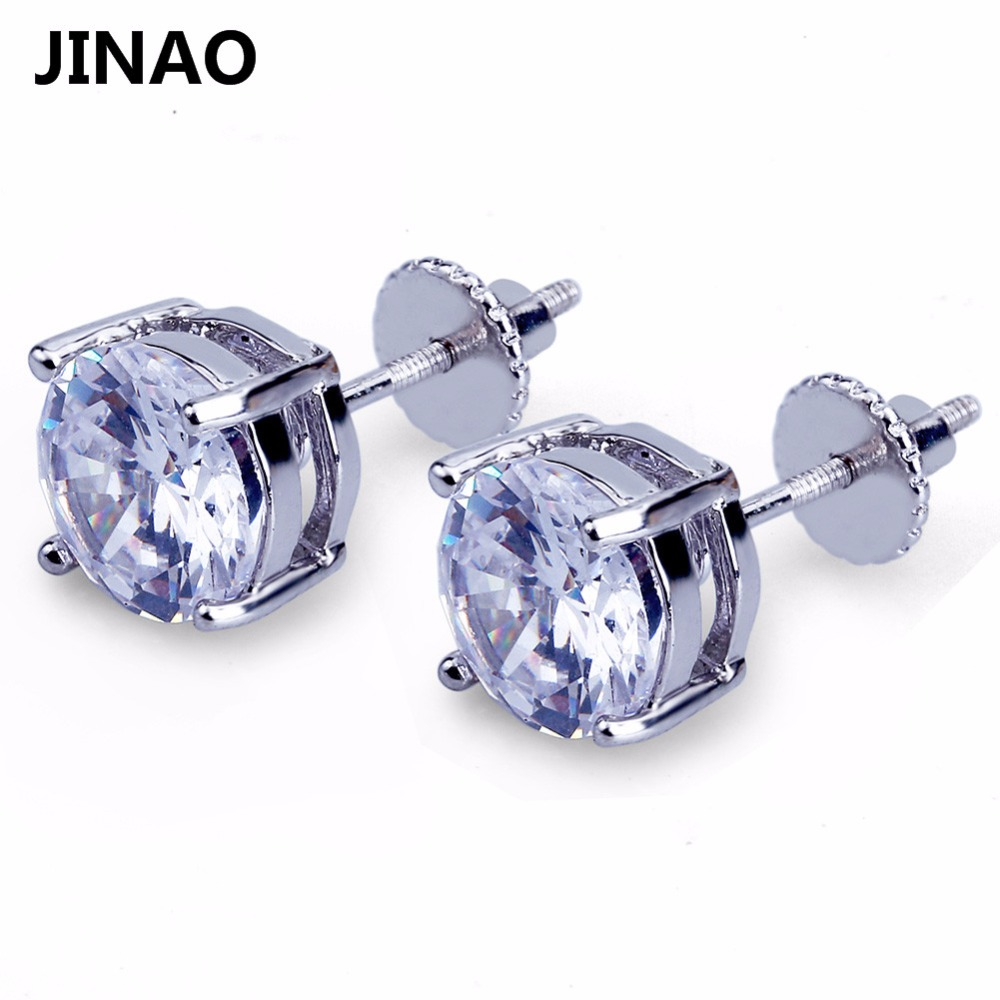 JINAO Gold/Silver Color Plated Iced Out Micro Pave Big CZ Stone Stud Earring Hip Hop Rock Jewelry Earrings For Male Female Gifts starry pattern gold plated alloy rhinestone stud earrings for women pink pair