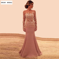 Mermaid Illusion Long Sleeves Mother of the Bride Dresses For Weddings Appliques Beading Dresses Bride Vestido Madrinha Long