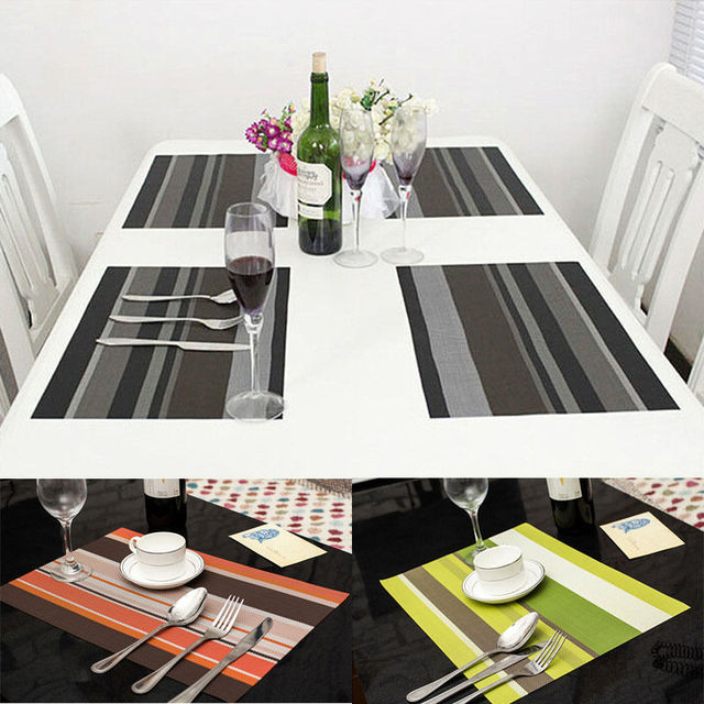 1Pcs PVC Quick Drying Tableware Insulation Mats Coasters Kitchen Weave Dining Room Table Pads