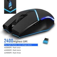 무선 2.4G 마우스 2400 인치 당 점 무선 광학 마우스 왼쪽 및 오른쪽 손 범용 컴퓨터 마우스 무선 게임 마우스