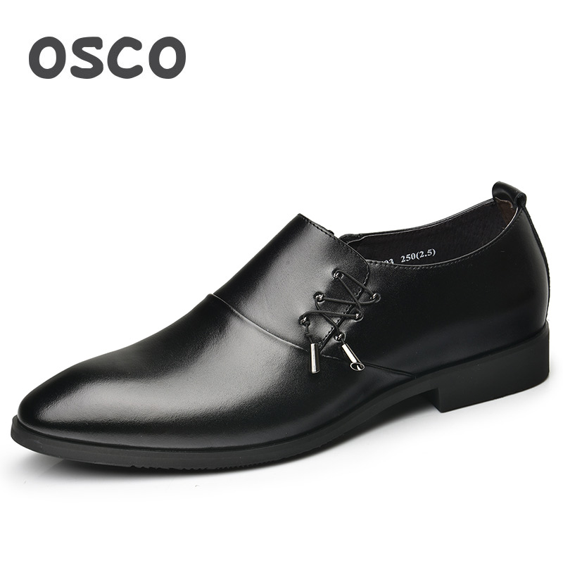 OSCO Summer Business Casual Dress Shoes Men Genuine Leather Trend Breathable Black Work Office Slip-on Men Shoes Fashion Oxfords osco men shoes spring autumn genuine leather business casual shoes round toe slip on comfortable low shoes office work shoes