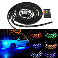 Car RGB LED Strip 5050 SMD Decorative Atmosphere Lamps Under Car Tube Underglow Underbody System Neon Light Kit + Remote Control