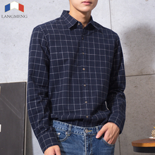 100% cotton Flannel mens dress shirt Long Sleeve 4 colors vintage plaid Casual Shirt men Spring autumn camisa masculina