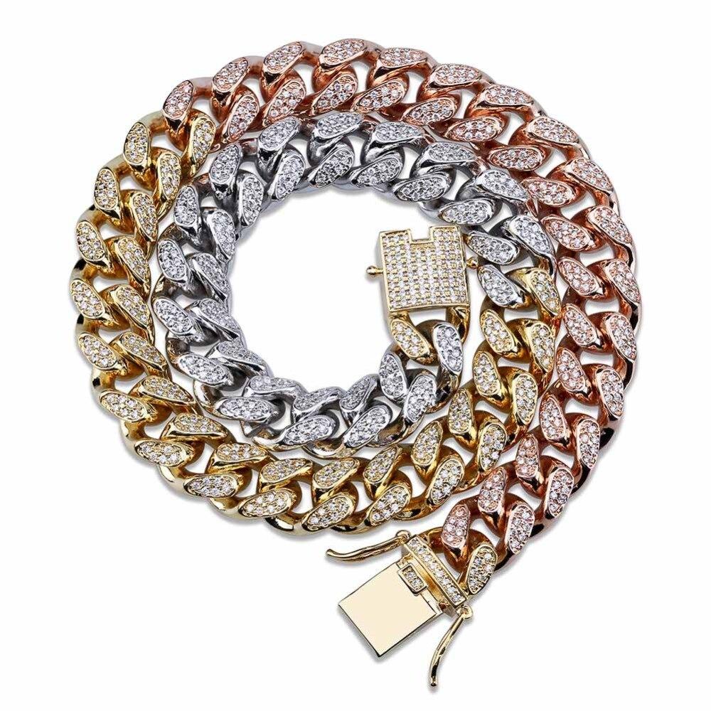 TOPGRILLZ cuivre couleur or plaqué glacé CZ pierre 14mm chaîne collier Hip Hop Rock mâle bijoux colliers avec 18