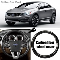 For Volvo S60 High Quality 38cm Carbon Fiber Leather Steering Wheel Sport Racing Steering Wheel Cover