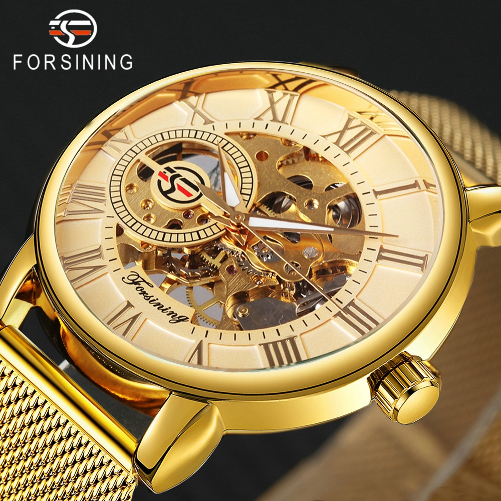Forsining Golden Mens Watches Top Brand Luxury Mechanical Skeleton Dial Mesh Strap Fashion Urban Dress Wristwatches 2019 Bracing Up The Whole System And Strengthening It Mechanical Watches