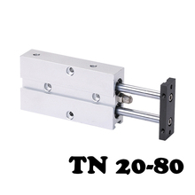 TN20*80 Two-axis double bar cylinder cylinder Double Shaft Cylinder TN Type 20mm Bore 80mm Stroke Pneumatic Air Cylinder bore 20mm x250mm stroke double action type aluminum alloy mini cylinder pneumatic air cylinder