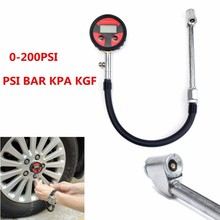0-200PSI Auto Tire Inflating Gun LCD Digital Pressure Gauge 350mm tube For 4x4s SUVS Copper and Rubber Zinc Alloy