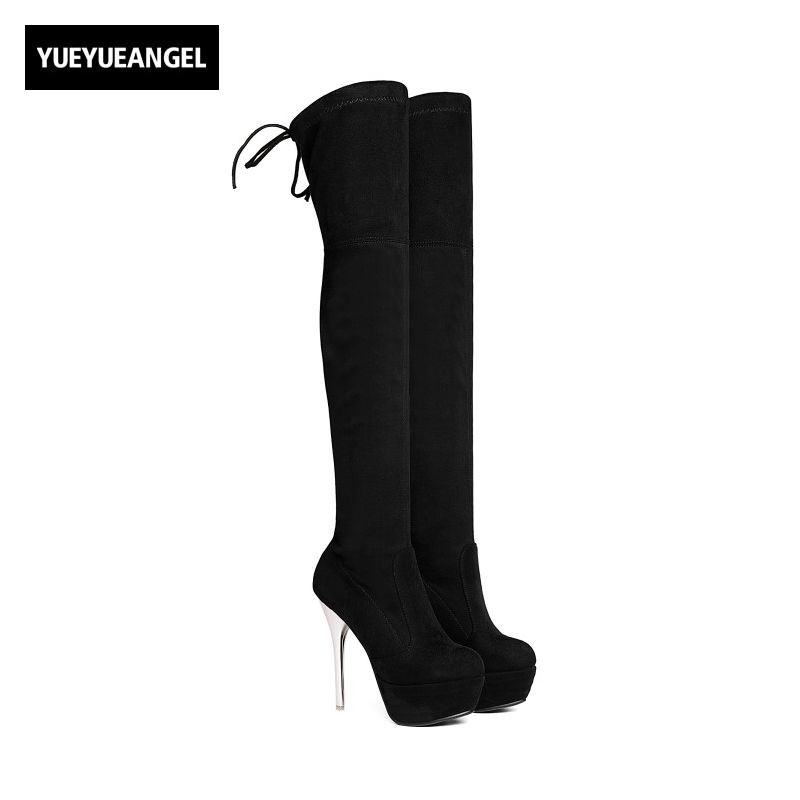 Sexy Faux Suede Womens Over Knee Boots Round Toe Super High Thin Heel Female Shoes Platform Fashion Elegant Size 34-43 Stretch