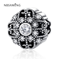 Authentic 100% 925 Sterling Silver Beads Cubic zirconia Fairy Tale Bloom Openwork Charms Fit Pandora Bracelets & Bangles Jewelry