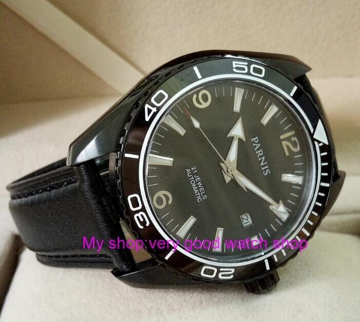 sapphire Crystal 45mm PARNIS Japanese 21 Jewels Automatic Self-Wind Mechanical movement ceramics Bezel 5ATM Men's Watches 170 sapphire