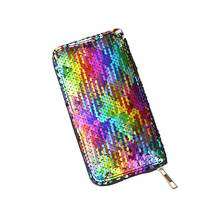 KANDRA 2019 Rainbow Sequined Mermaid Long Wallet for Women Zipper Credit Cart Holder Every Day Phone Bag Coin Purse Wholesale