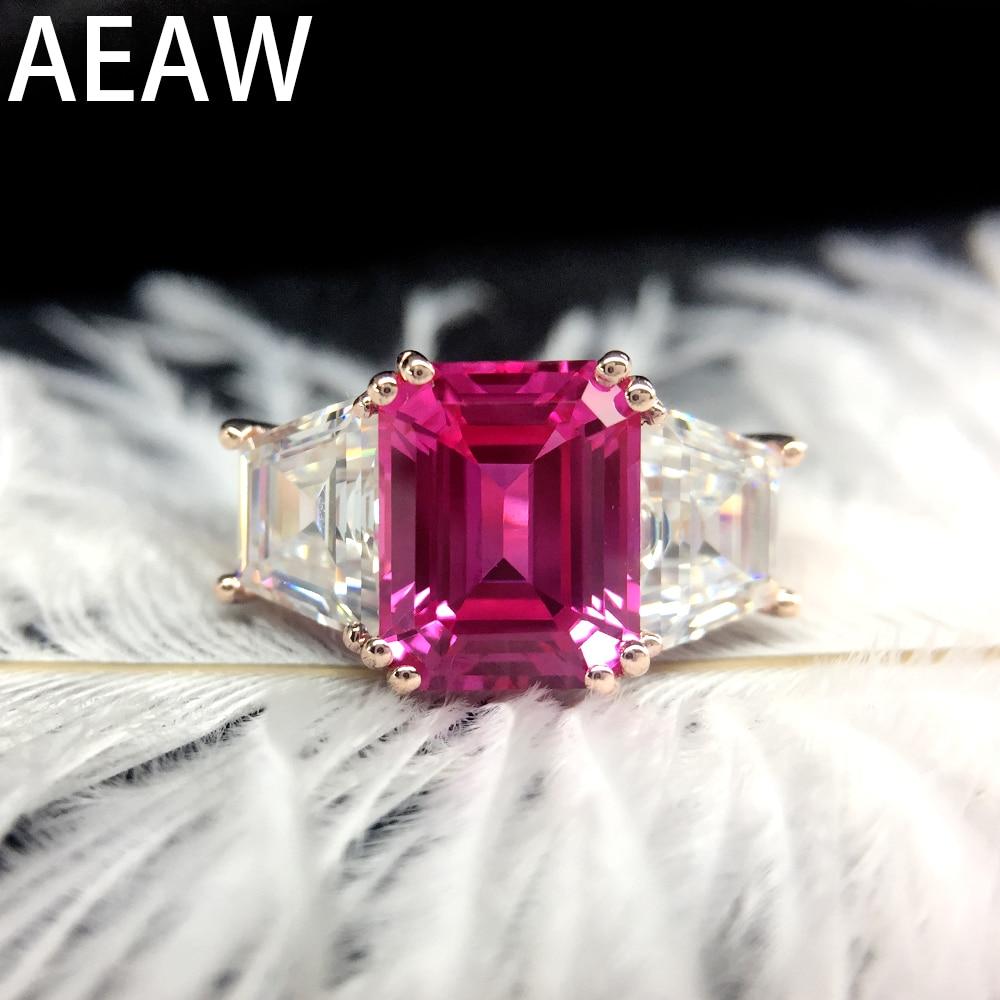 Solide 14 K or jaune bagues de fiançailles 8x10mm laboratoire rubis avec Moissanite bijoux anneau classique dame bijoux