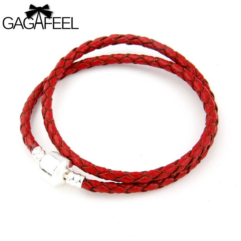 New European Weave Leather Silver Double Circles Red Bracelet Bangles fit Charm Beads Pendant Women Men DIY Fine Jewelry C0803