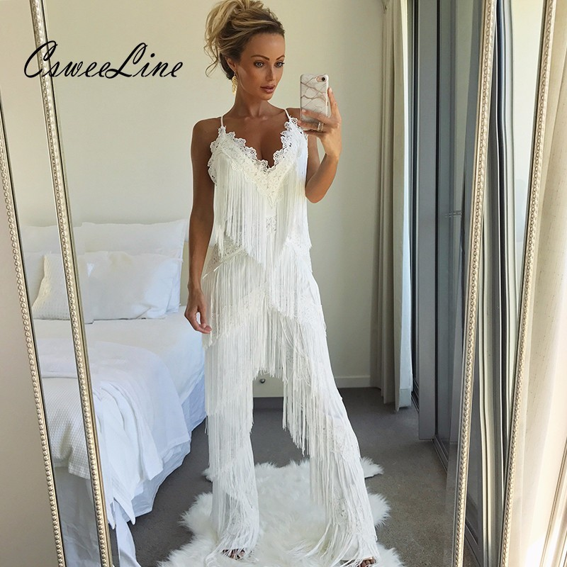 2018 Long Fringes Rompers Womens Jumpsuit Tassels Sexy Lace White