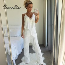 2018 Long Fringes Rompers Womens Jumpsuit Tassels Sexy Lace White Jumpsuits Club Party Outfits Fashion Runway Overalls For Women
