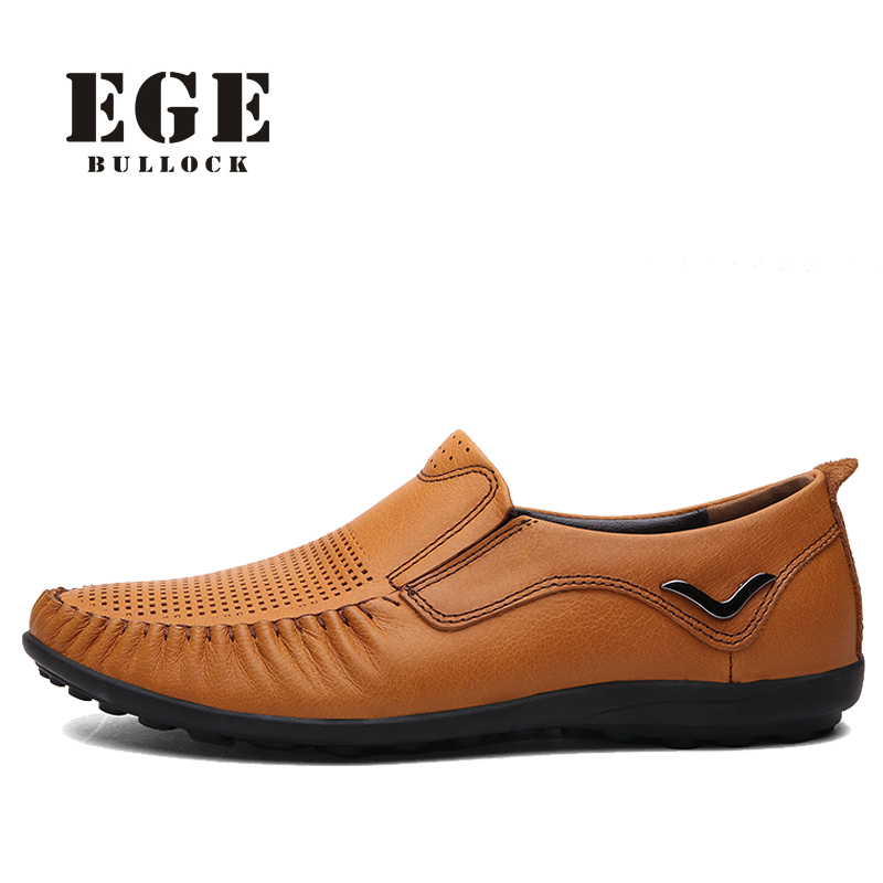 EGE Brand Men Loafers New Handmade Big Size Summer Casual Men Shoes High Quality Breathable Genuine Leather Fashion Men Flats cbjsho brand men shoes 2017 new genuine leather moccasins comfortable men loafers luxury men s flats men casual shoes
