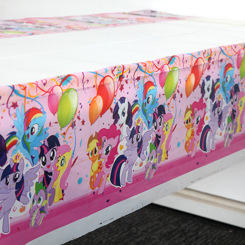 1.08x1.8M My Little Pony Kids Birthday Party Supplies Cartoon Horse Tablecloth Table Cover Map Baby Shower Party Decoration 1pc