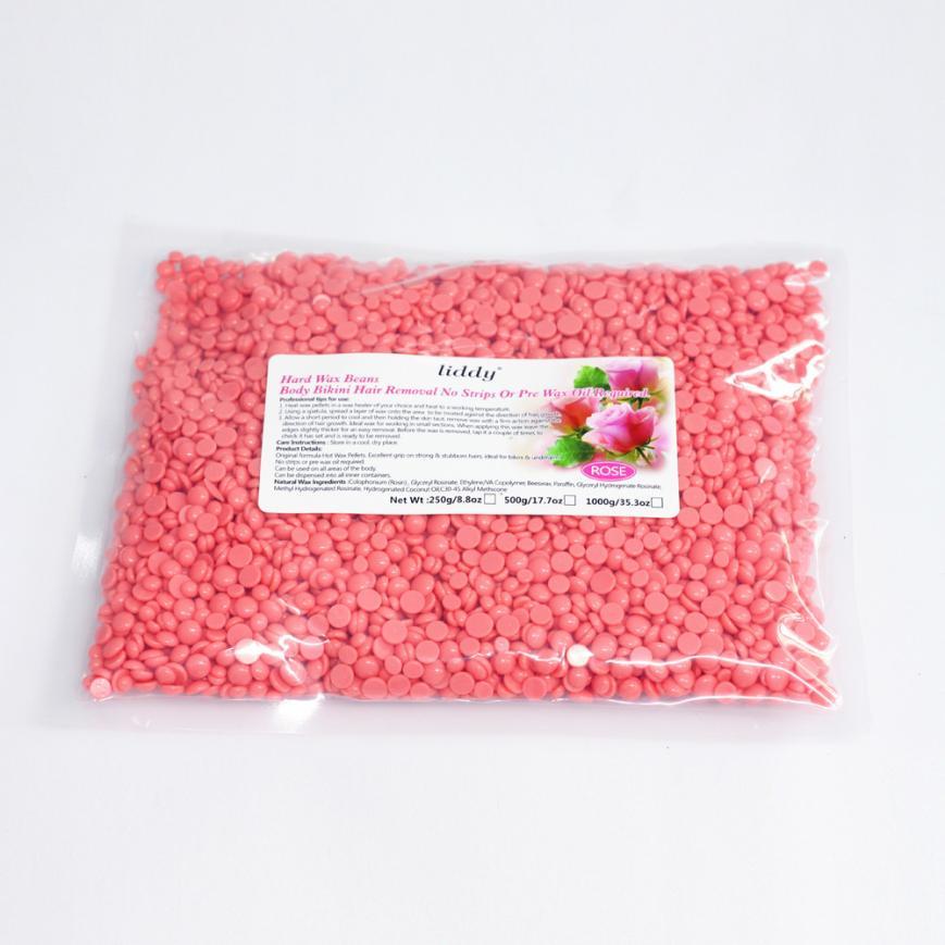 Depilatory 2017 Pink    500g  hot new No Strip Depilatory Hot Film Hard Wax Pellet Waxing Bikini Hair Removal Bean 17sep26