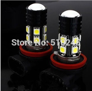 50X new products H11 Super Bright 5050 SMD 12 LED + with Lens Car Fog Parking Day Running Light Bulb Lamp FREE shipping