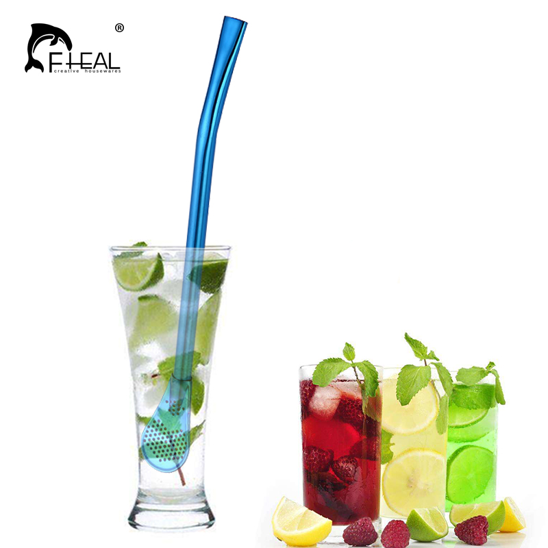 FHEAL Multicolour Stainless Steel Drinking Straws Tea Strainer Colorful Cocktail Shaker Coffee Filtered Spoons Bar AccessoriesFHEAL Multicolour Stainless Steel Drinking Straws Tea Strainer Colorful Cocktail Shaker Coffee Filtered Spoons Bar Accessories