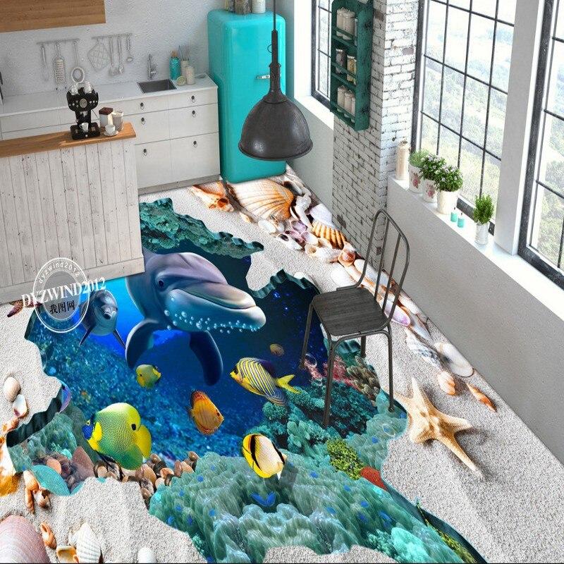 купить Free Shipping Underwater world beach 3D shell flooring painting office studio study PVC floor wallpaper mural дешево