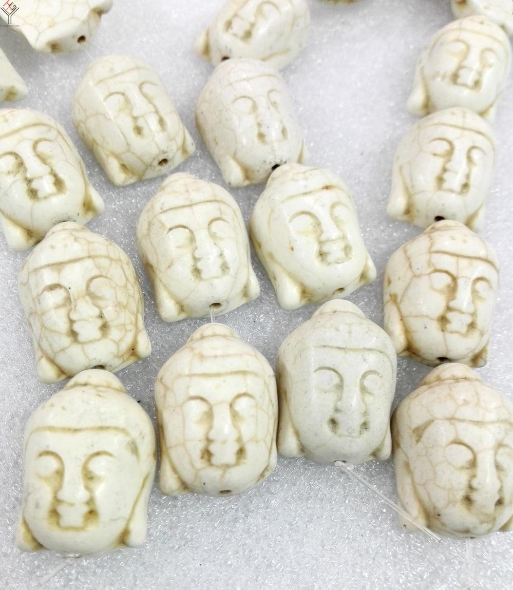 Total 13 beads 20x30mm Bright white carve Avalokitesvara Buddha head howlite stone Loose Beads buddism
