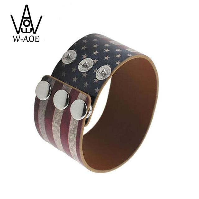 Fashion Jewelry Vintage Usa Flag Leather Wide Bracelets Bangles For Women Men Punk Wristband Bracelet