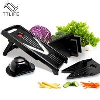 TTLIFE Manual Mandoline Slicer Multifunction Vegetable Salad Vegetable Cutter Set with 5 Blade Potato Carrot Cutter Kitchen Tool