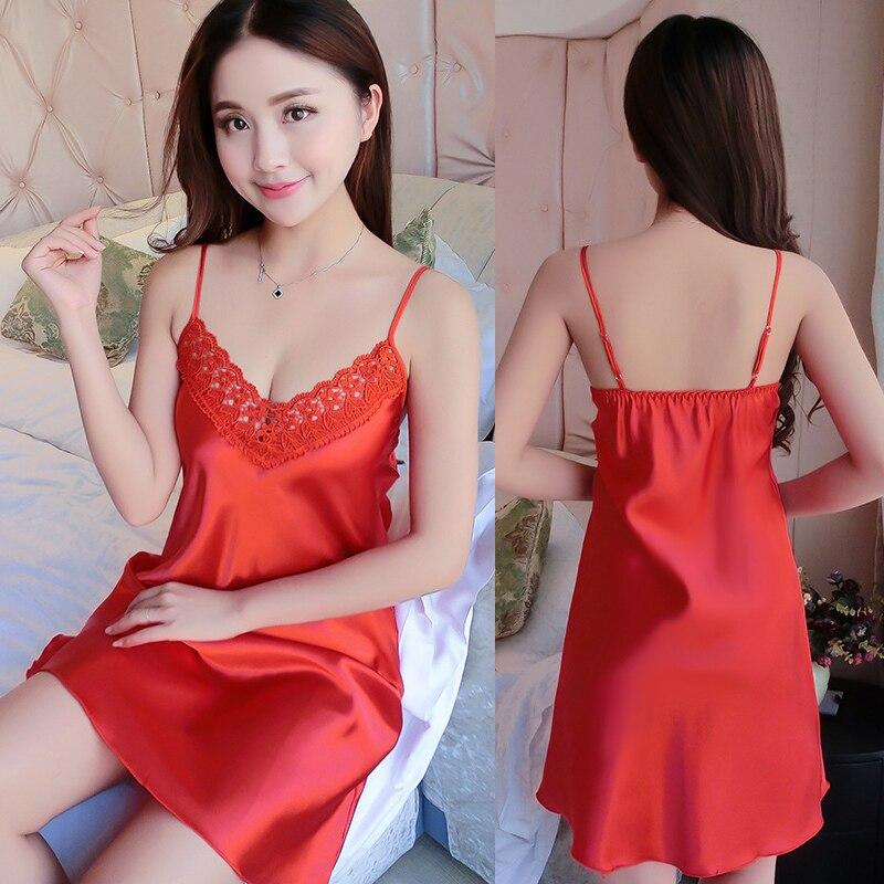 Sexy Silk Sleepwear Satin Nightgown Sleeveless V-neck Nightdress Nighties Summer Sleepwear Lace Night Gown Lingerie For Women