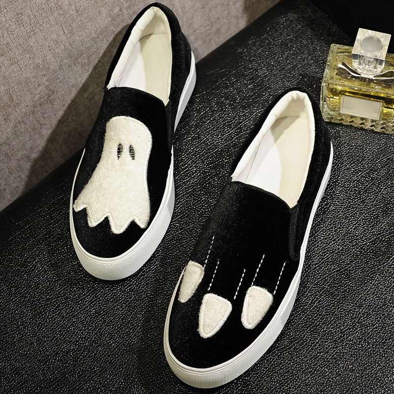 ФОТО Platform Shoes Woman Velvet Cartoon Creepers Round Toe Women Famous Casual Platform Shoes brand Flat Shoes Ladies Loafers