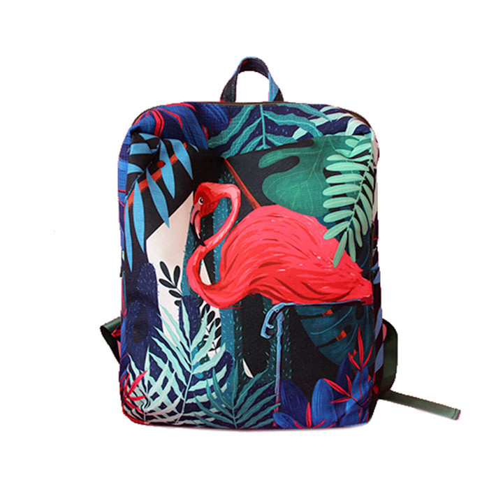Fashion women red flamingo animal printing chinese national backpack sac a doc mochila student college daypack