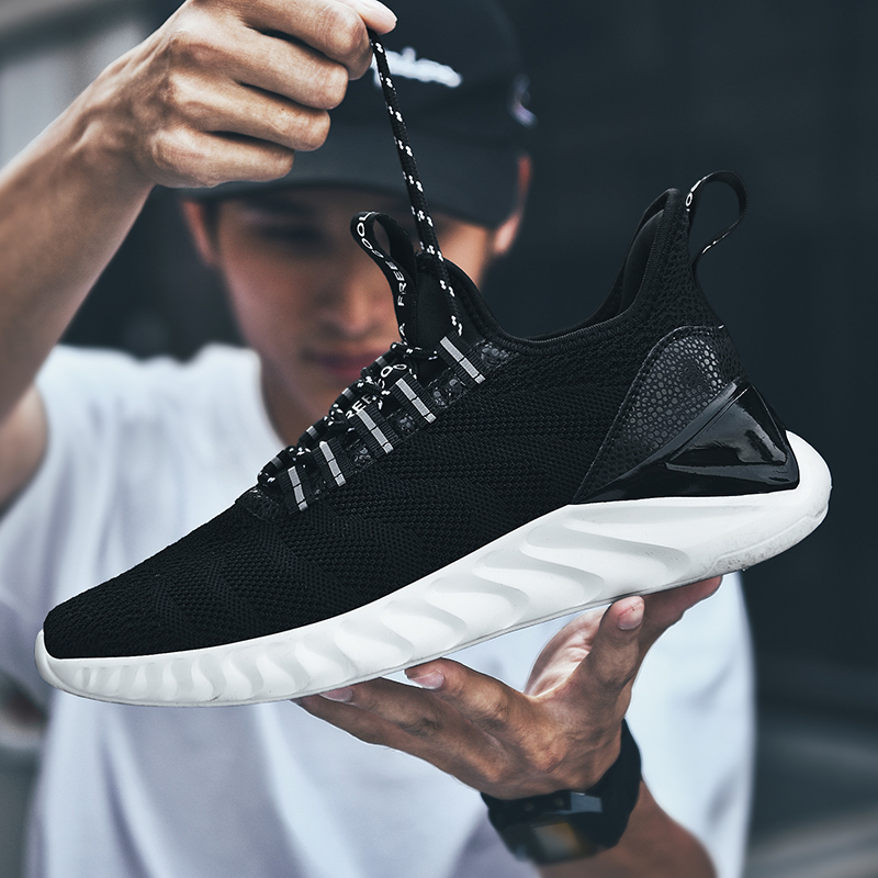 Men Sneakers Plus Size 48 Breathable Fashion Casual Shoes Men Lace-up Flyknit Lightweight Walking Footwear Zapatillas Hombre