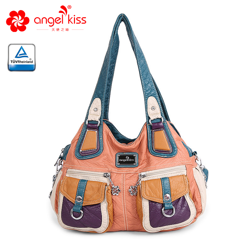 Angelkiss New Women hobo shoulder crossbody bag female casual large totes high quality PU leather ladies