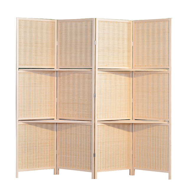 Bamboo 4 Panel Folding Room Divider Screen W Removable Storage Shelves Hinged Privacy Portable