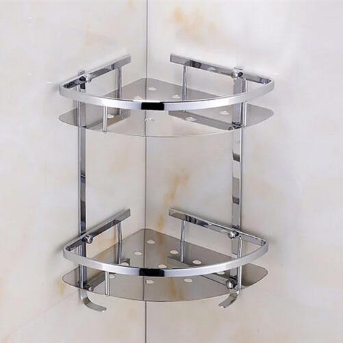 Buy 2016 luxurious stainless steel 304 bathroom corner shelf double shower room for Stainless steel bathroom shower shelves