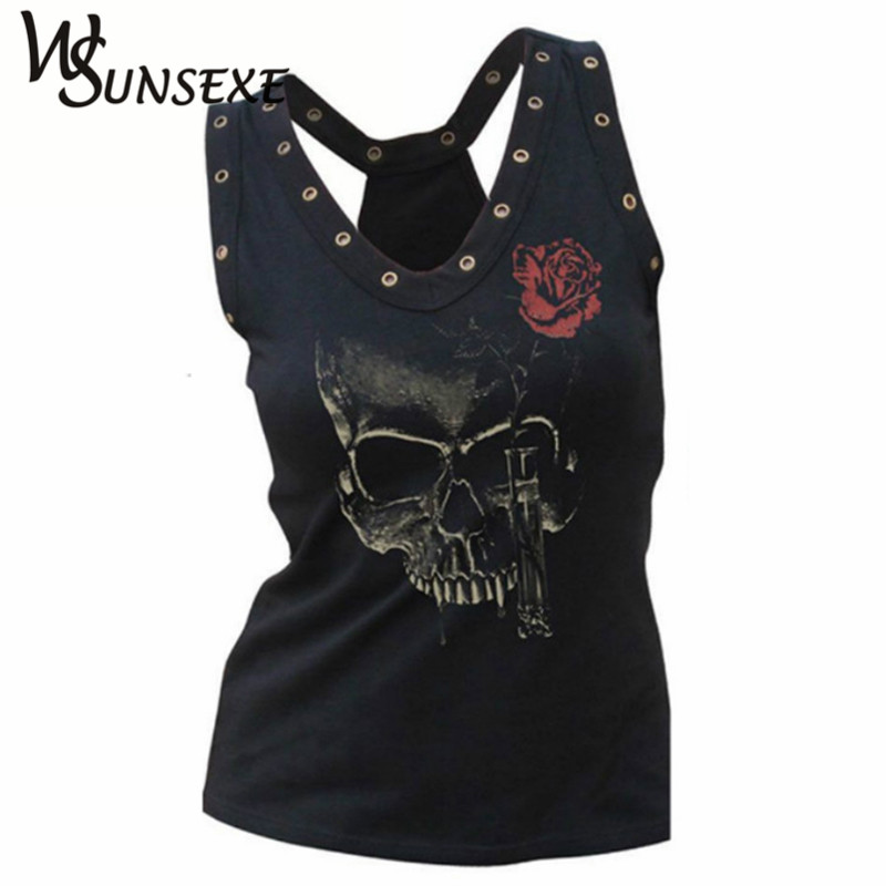 Hollow Out Women Skull Head 3D Trykt T-shirt Blusa Hip Hop Summer V-Neck Tee Femme Punk Style Hole Tops Billige Beklædning