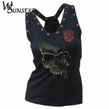 Hollow Out Women Skull Head 3d Printed T Shirts Blusa Hip Hop Summer V-neck Tee Shirt Femme Punk Style Hole Tops Cheap Clothing
