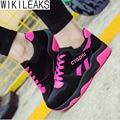 Wikileaks Mujeres Casual Color Mezclado Zapatos Luz Para Caminar antideslizantes Mujer Solid Lace-Up Negro Aumento de la Altura Los Zapatos Mbt zapatos de mujer