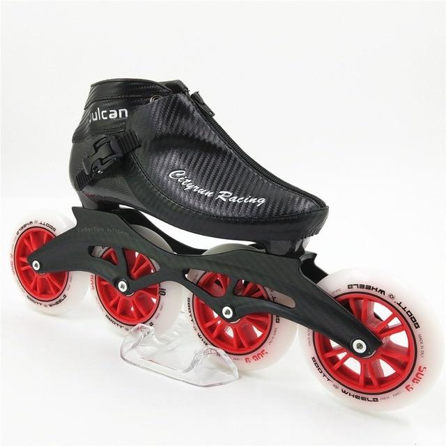 7f6090f4497 Professionele Racing Schaatsen schoenen NIEUWE Aankomst Mannen/Vrouwen  Inline Skates 4 100mm Wielen Volwassenen/