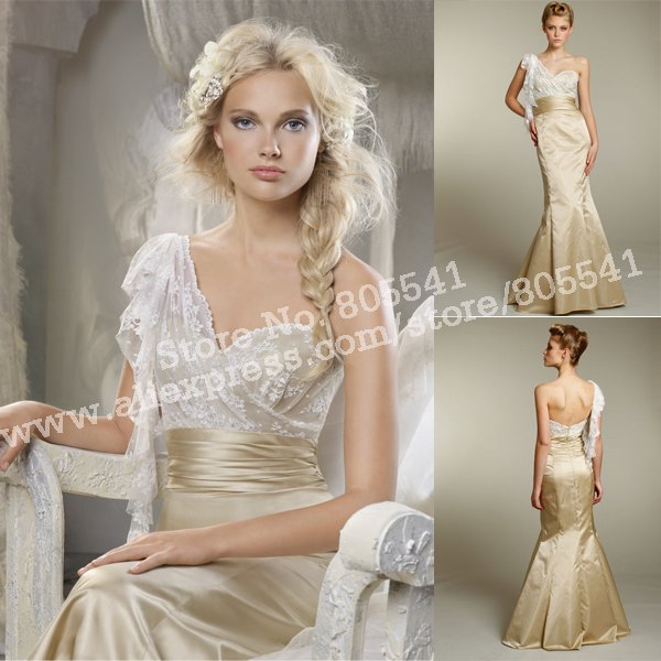 Hot Selling Mermaid Trumpet One-shoulder Fabulous Lace Long Gold Satin  Bridesmaid Dresses BMD101511 0185e2306b67