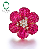 CAIMAO High Jewelry Invisible Setting 10ct Natural Ruby and 0.38ct Brilliant Cut Diamond 18kt Au750 Rose Gold Ring