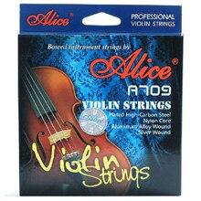 Marca Alice A709 cuerdas de violín de más alto rango, cuerdas de nylon