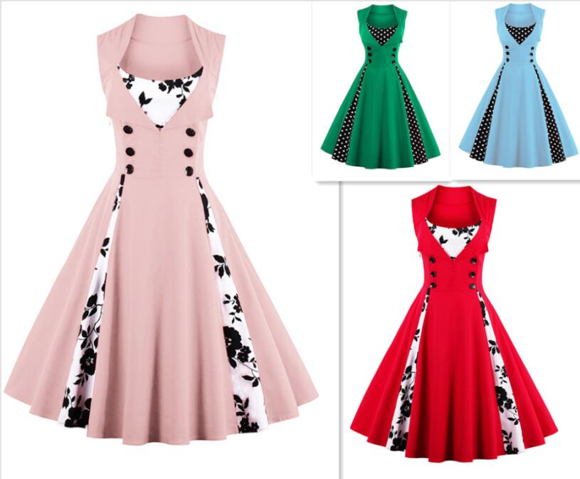 2017 Pin Up S-5XL Plus Size Women Summer Red Patchwork 50s Rockabilly Polka Dot Vintage Dress Elegant Retro Party Robe dress